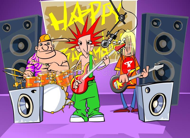 O grupo de rock diz o feliz aniversario ilustração stock