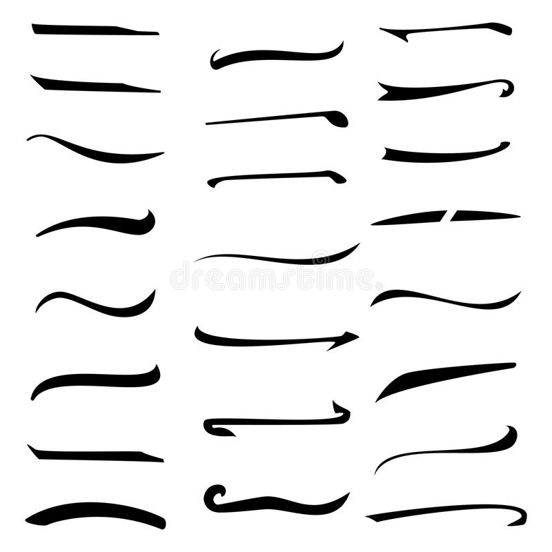 O grupo de rotulação da mão sublinha as linhas isoladas no fundo branco Projeto da tipografia Elementos feitos a mão do vintage p ilustração stock