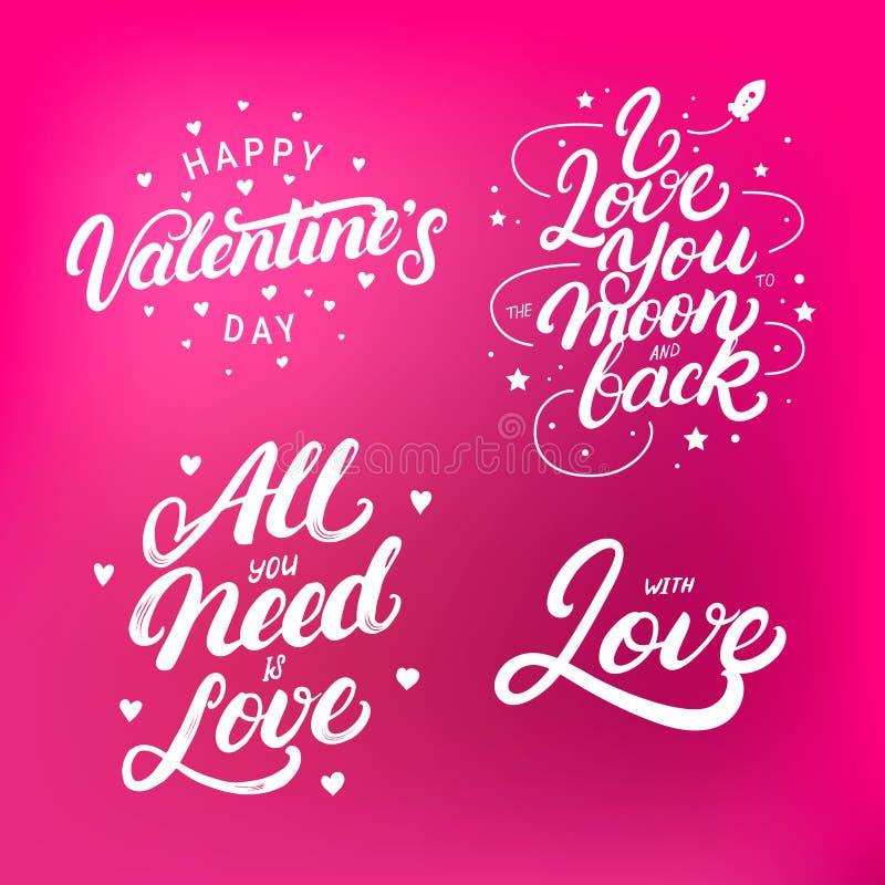 O grupo de rotulação escrita mão cita para o dia do ` s do Valentim ilustração royalty free