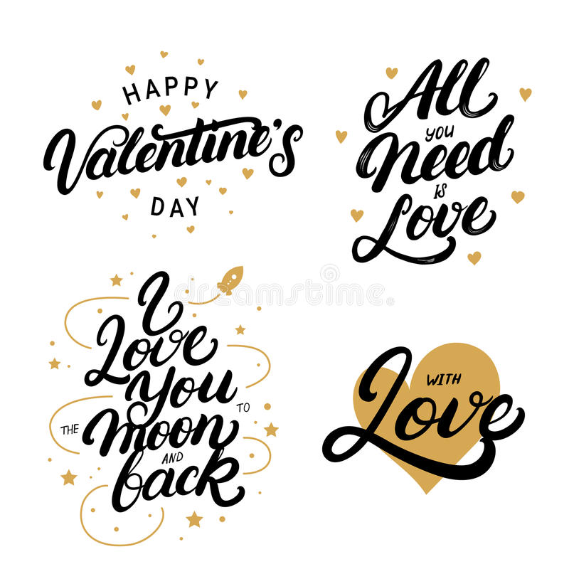 O grupo de rotulação escrita mão cita para o dia do ` s do Valentim ilustração stock