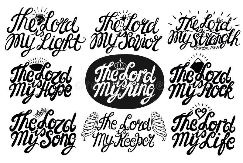 O grupo de rotulação de 9 mãos cita o senhor é meu salvador, rei, luz, música, esperança, salvador, Streght, rocha, vida, deposit ilustração royalty free