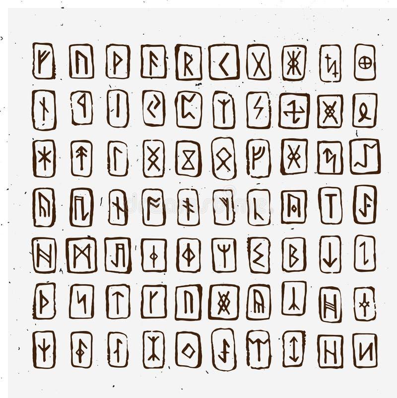 O grupo de runas escandinavas dos noruegueses velhos cinzelou na madeira Alfabeto rúnico, futhark Símbolos ocultos antigos, letra ilustração stock