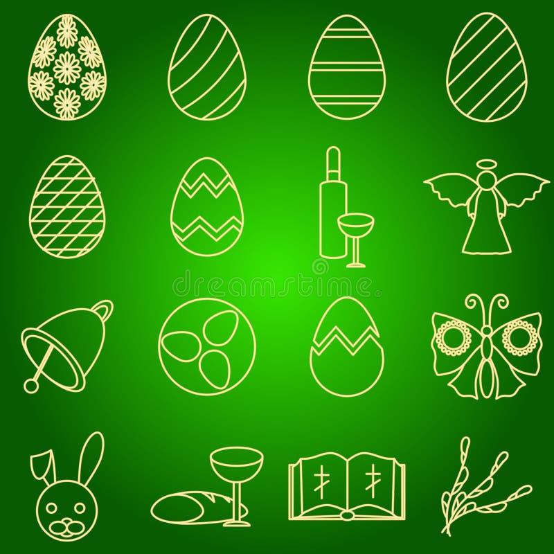 O grupo de símbolos da Páscoa dos ícones egg, anjo, sino, vinho, borboleta, a Bíblia, coelho, salgueiro ilustração royalty free