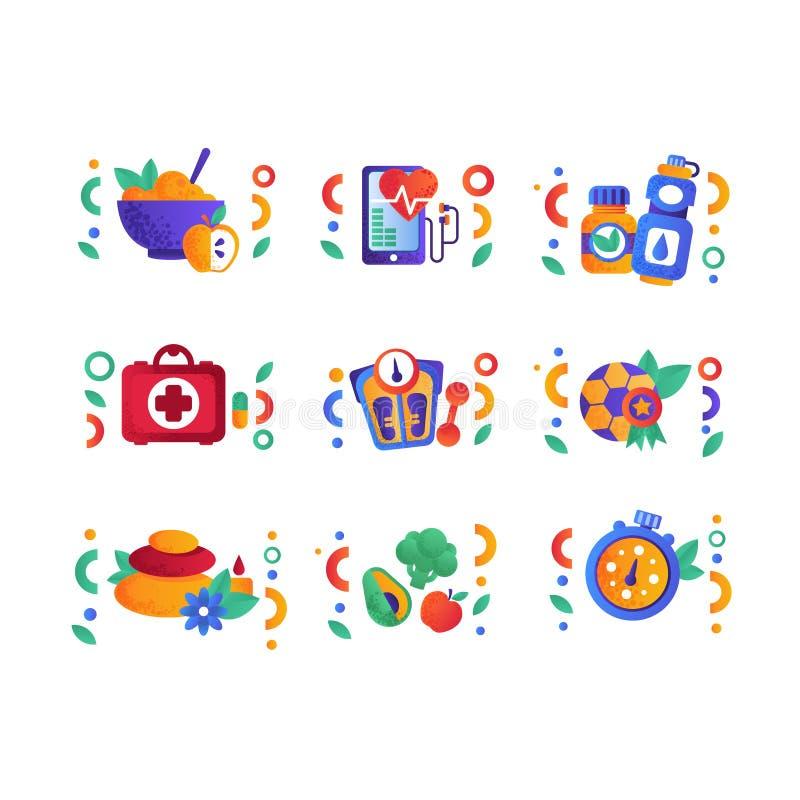 O grupo de símbolos saudável do estilo de vida, atividade física, esporte, aptidão, elementos do projeto do alimento do vegetaria ilustração royalty free