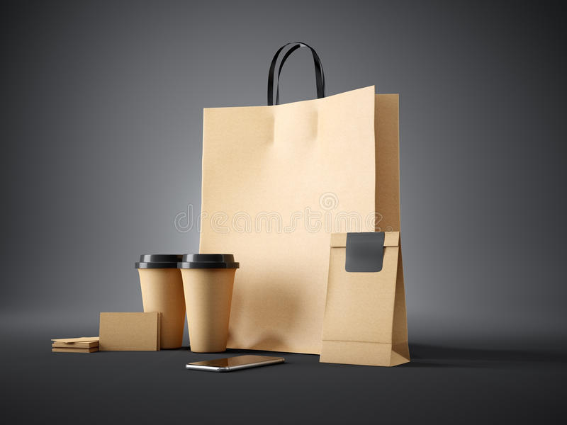 O grupo de saco de compras do ofício, leva embora copos, o pacote de papel, cartões vazios e o smartphone genérico do projeto esc ilustração do vetor