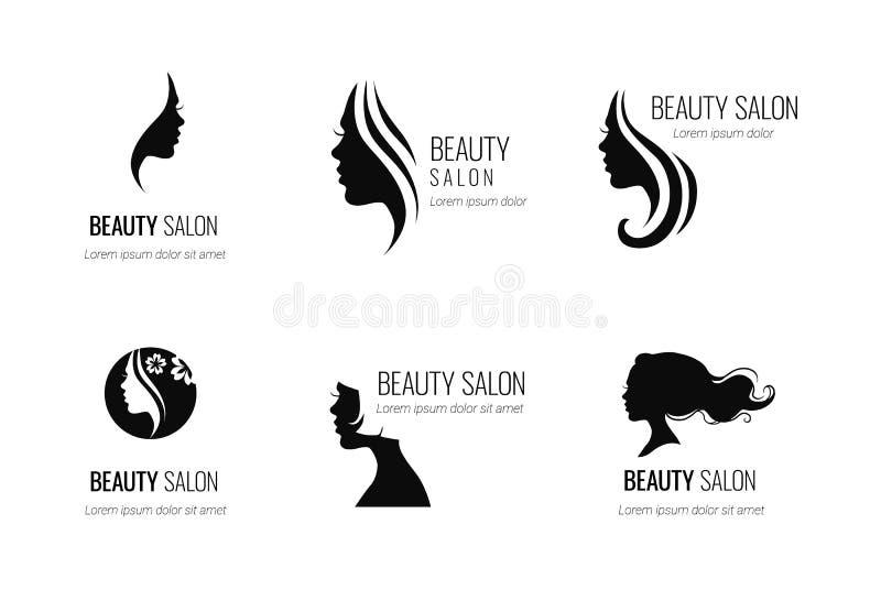 O grupo de salão de beleza do vetor ou de ícone preto do cabeleireiro projeta o iso ilustração do vetor