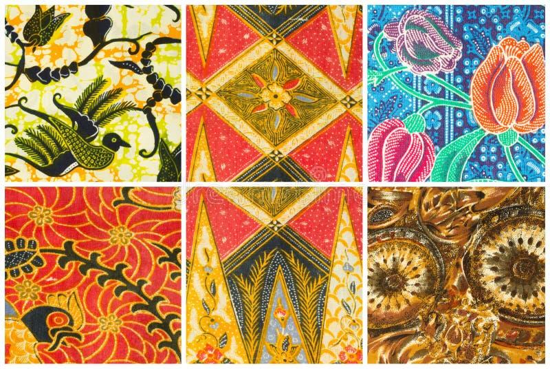 O grupo de sarongues do batik modela o fundo, sarongue tradicional do batik imagem de stock royalty free