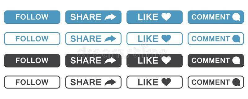 O grupo de segue, compartilha, gosta, comenta ícone do botão em um projeto liso ilustração royalty free