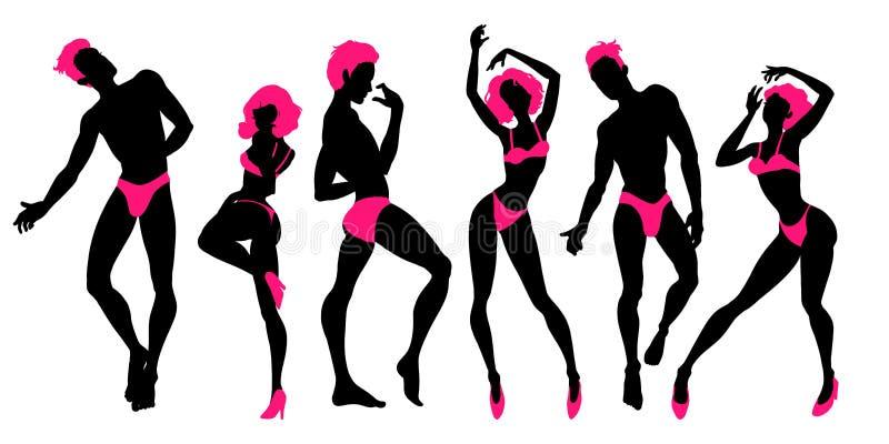 O grupo de silhuetas de dança dos povos, dançarinos 'sexy', homens e mulheres, ir-vai meninos e meninas, espadeladores, ilustraçã ilustração stock