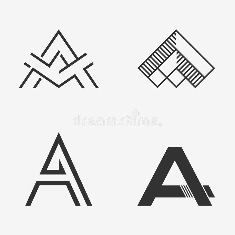 O grupo de sinal da letra A, logotipo, elementos do molde do projeto do ícone ilustração do vetor