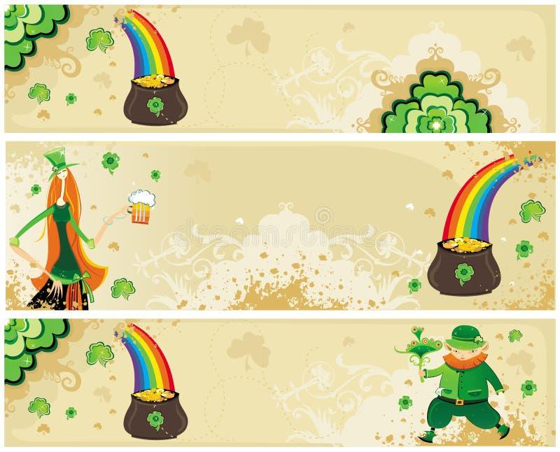 O grupo de St Patrick de bandeiras imagem de stock royalty free