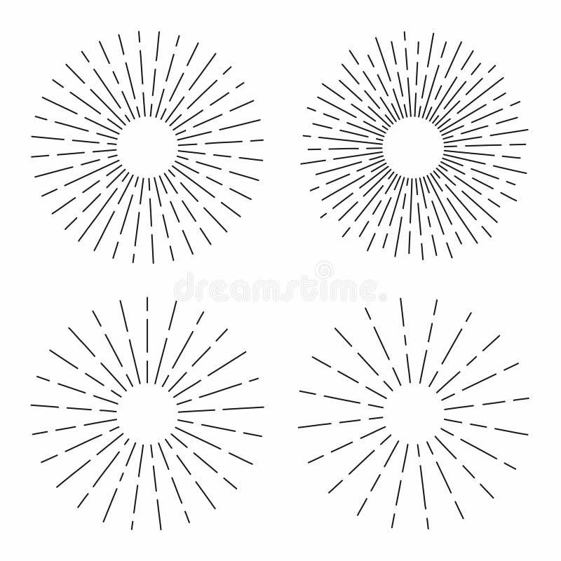 O grupo de sunburst do vintage nas linhas forma, radial linear estourou o sol retro para a cultura do moderno ilustração do vetor