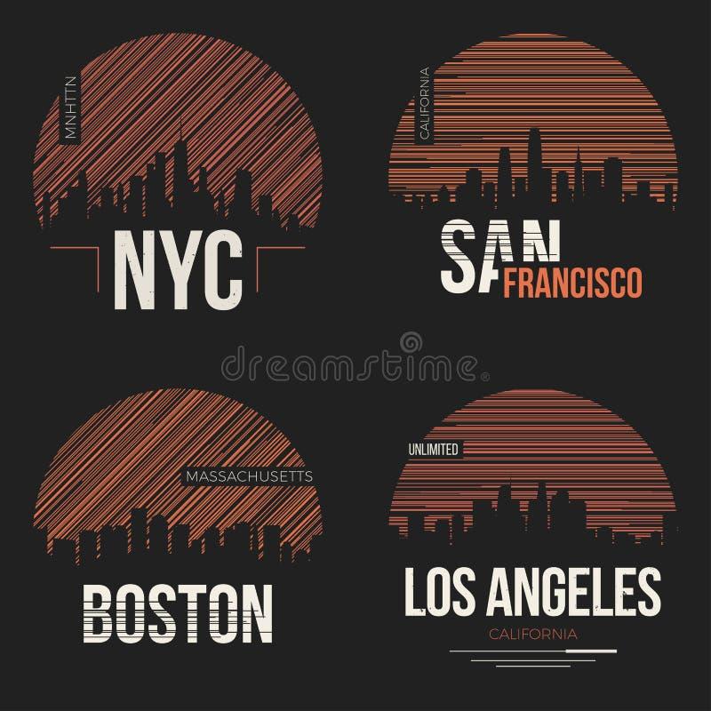 O grupo de t-shirt projeta connosco silhuetas das cidades ilustração royalty free