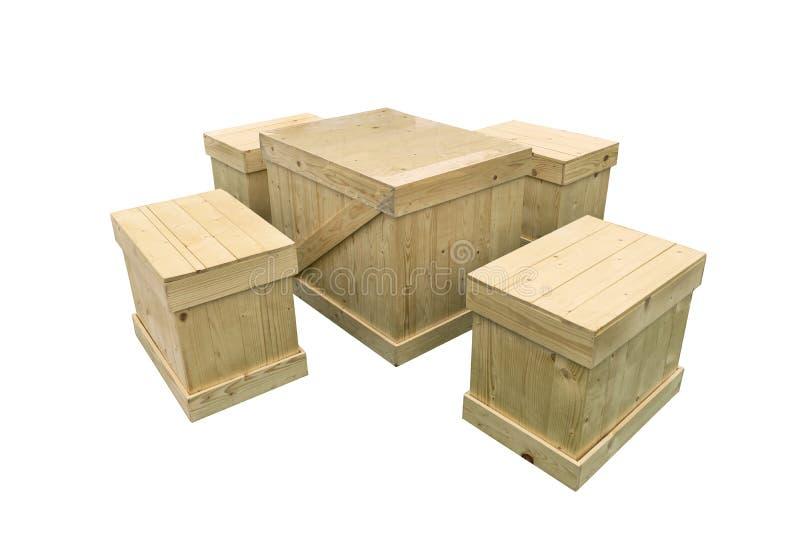 O grupo de tabela e a cadeira fazem com o shippi da pálete da exportação da caixa de madeira fotografia de stock