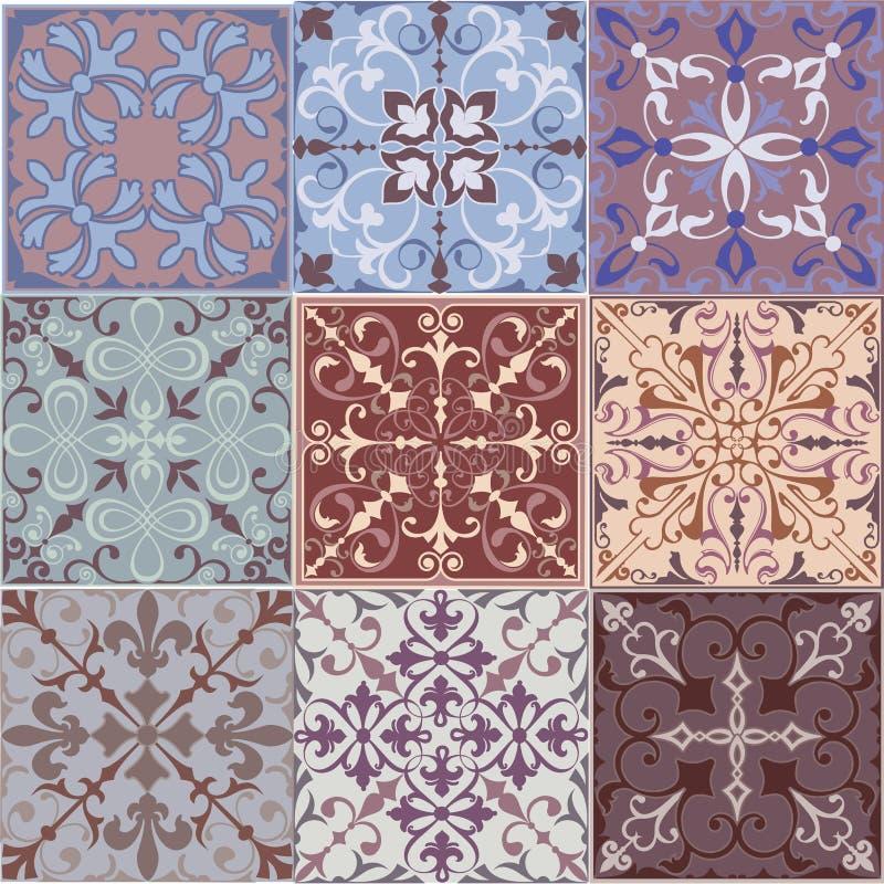 O grupo de testes padrões sem emenda dos ornamento do vintage com flor projeta no fundo do clarete do estilo de Damasco ilustração stock