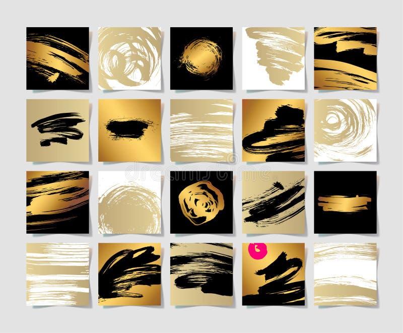 O grupo de tinta preta do branco 20 e do ouro escova o teste padrão quadrado do grunge ilustração stock