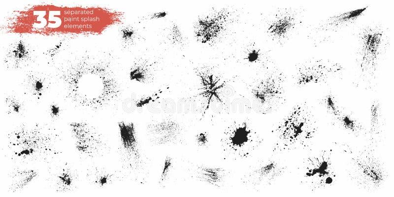 O grupo de tinta preta espirra e deixa cair Elementos handdrawn diferentes do projeto do pulverizador Gotas e respingos Vetor iso ilustração do vetor