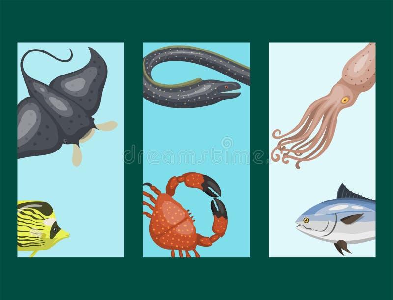 O grupo de tipos diferentes de animais de mar carda dos animais selvagens tropicais do caráter da ilustração peixes aquáticos mar ilustração do vetor