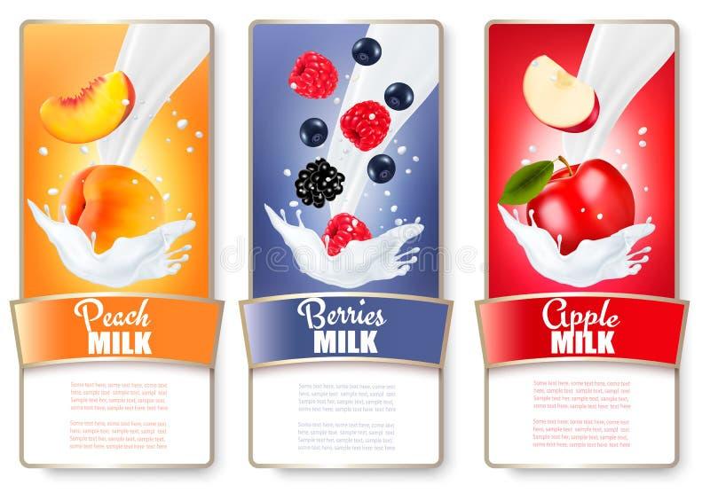 O grupo de três etiquetas do fruto e de bagas no leite espirra ilustração stock