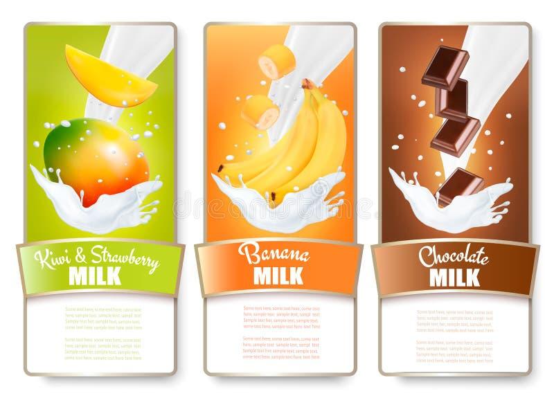 O grupo de três etiquetas do fruto no leite espirra ilustração royalty free