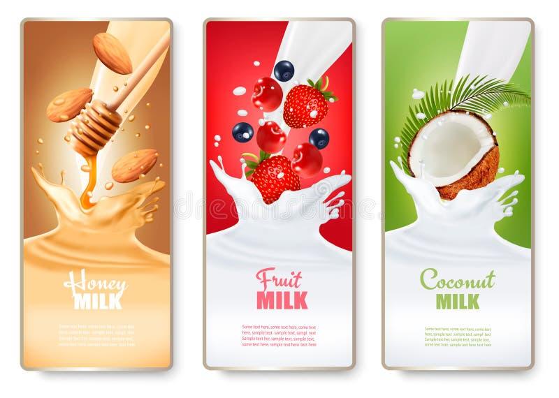 O grupo de três etiquetas do fruto no leite espirra ilustração do vetor