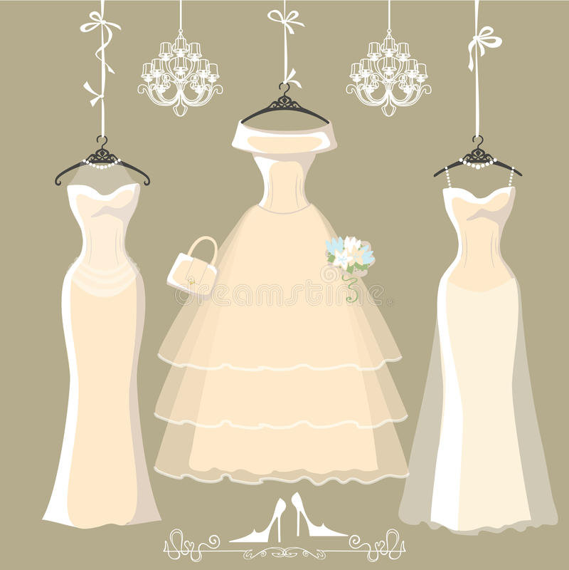 O grupo de três vestidos nupciais longos pendura em fitas ilustração stock