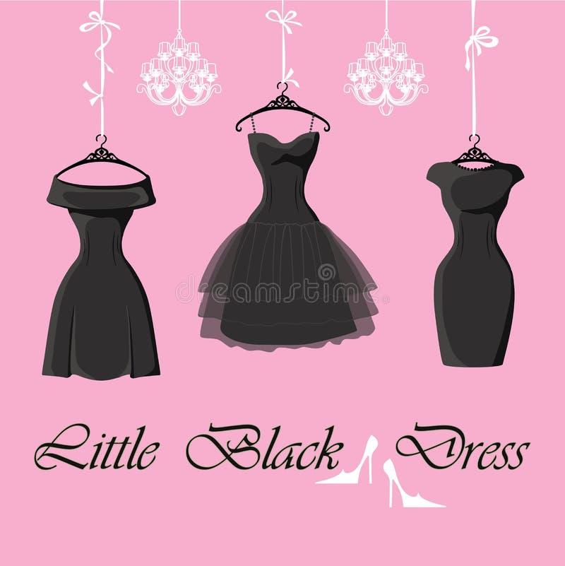 O grupo de três vestidos pretos pequenos pendura em fitas ilustração stock