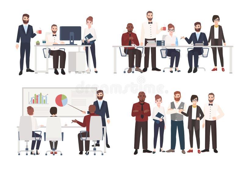 O grupo de trabalhadores de escritório vestiu-se na roupa do negócio em situações diferentes - trabalhando no computador, conduzi ilustração do vetor