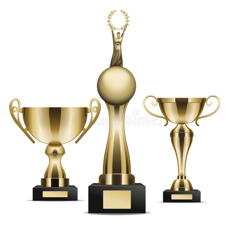 O grupo de troféu dourado coloca o gráfico Art Icon do vencedor ilustração do vetor