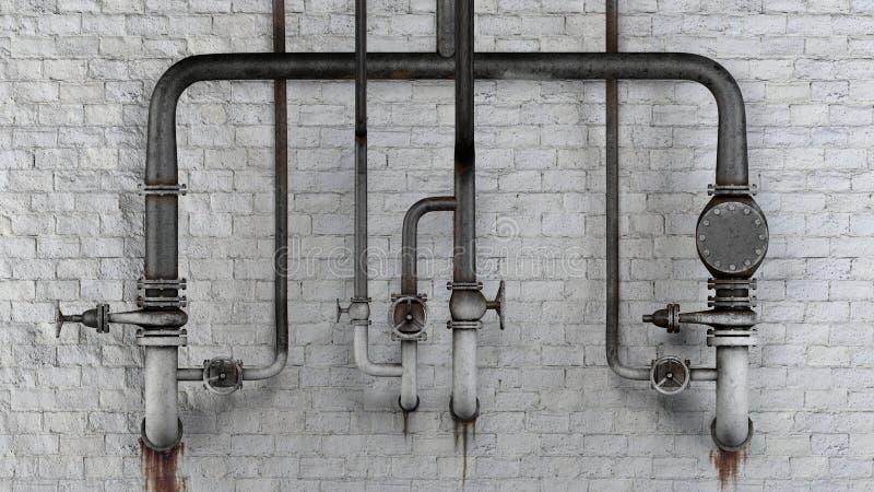 O grupo de tubulações e de válvulas velhas, oxidadas contra a parede de tijolo clássica branca com escape mancha ilustração stock