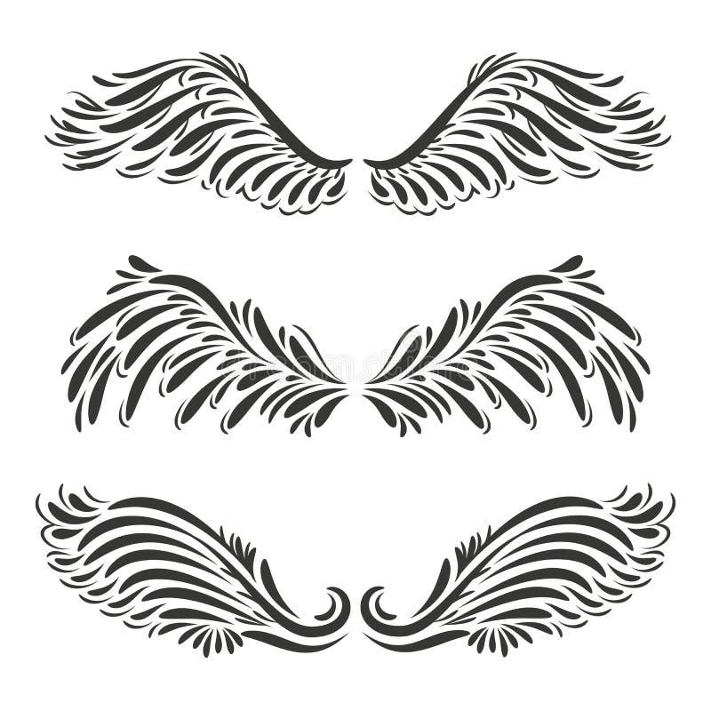 O grupo de um anjo decorativo de três vetores ou as asas do pássaro projetam - o illu ilustração stock