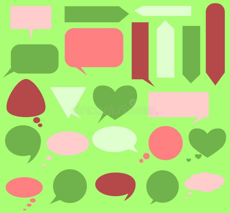 O grupo de várias bolhas para o texto - círculo, quadrado, triangular - para suas mensagens ilustração stock