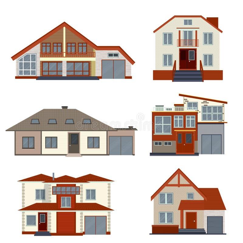 O grupo de várias casas detalhadas e as casas de campo projetam Coleção de ilustração royalty free