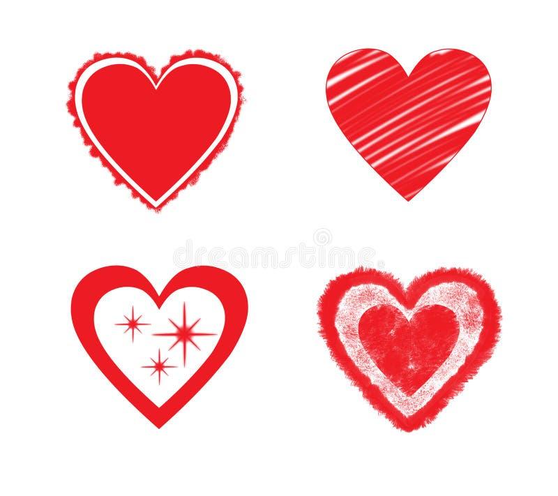 O grupo de vário coração dá forma ao vetor ilustração royalty free