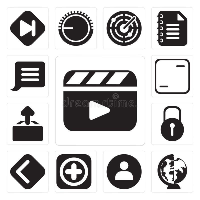 O grupo de vídeo, mundial, usuário, adiciona, traseiro, fechado, transferência de arquivo pela rede, ilustração stock