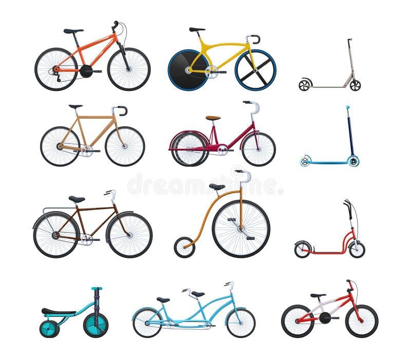 O grupo de veículos modernos para o transporte, cidade diferente bicycles ilustração do vetor