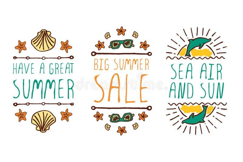 O grupo de verão mão-esboçou elementos ilustração stock
