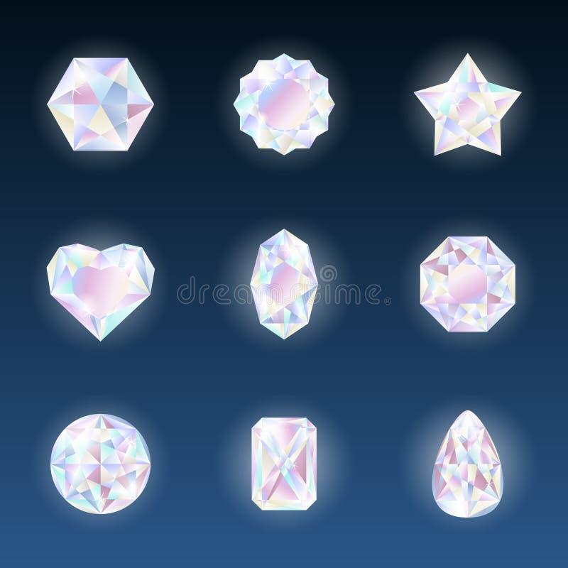 O grupo de vetor colorido jewels pedras preciosas e cristais com incandescência no fundo escuro ilustração do vetor