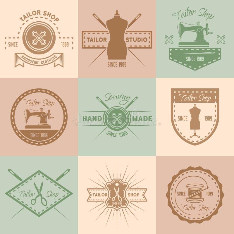 O grupo de vetor da loja do alfaiate coloriu emblemas do vintage ilustração do vetor