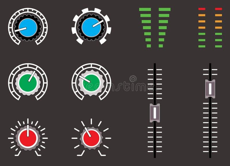 O grupo de vetor do símbolo de controle do volume ajustou-se no fundo preto ilustração do vetor