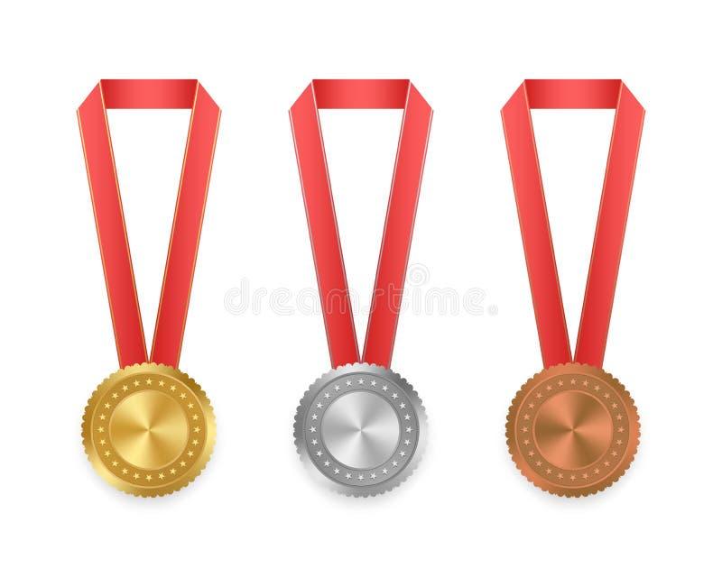 O grupo de vetor etiqueta o ouro, a prata e o bronze com as fitas com vermelho e a fita do ouro com as estrelas no fundo branco C ilustração royalty free