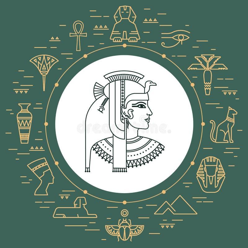 O grupo de vetor isolou símbolos e objetos de Egito ilustração royalty free