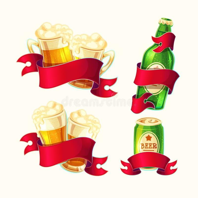 O grupo de vetor isolou vidros de cerveja das ilustrações dos desenhos animados, garrafa de vidro, lata de alumínio com fita verm ilustração stock