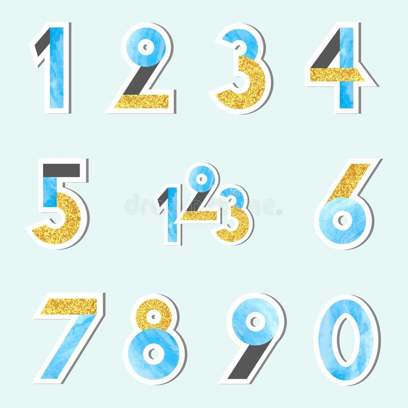 O grupo de vetor numera em cores douradas azuis e brilhando da aquarela ilustração stock