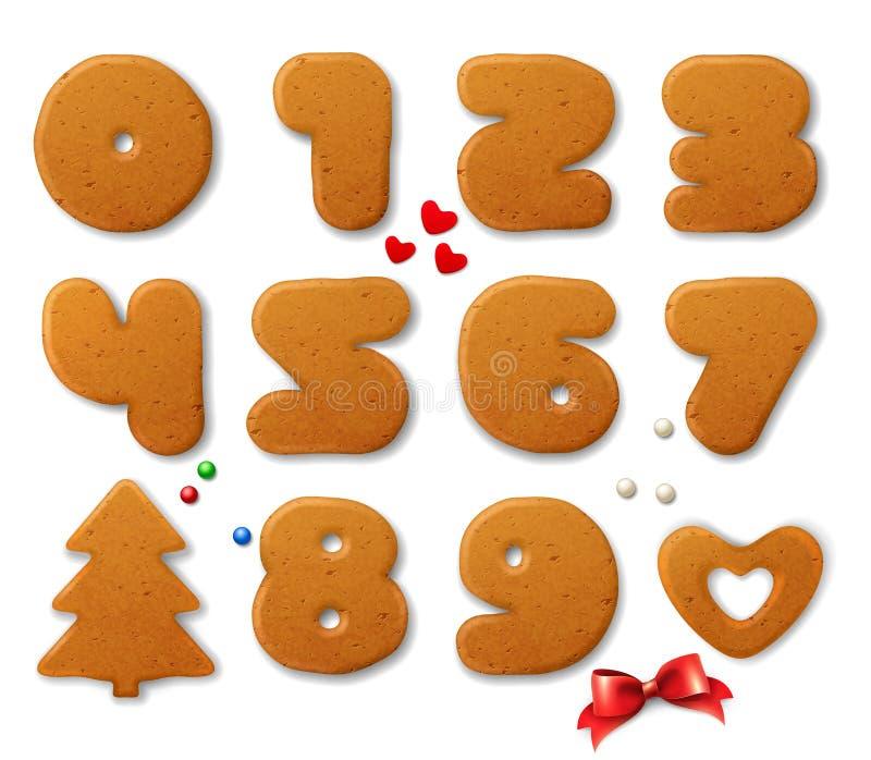 O grupo de vetor numera na forma de pão-de-espécie do Natal com elementos do projeto ilustração royalty free
