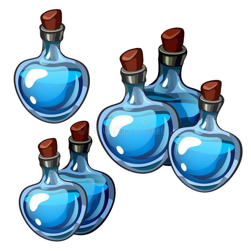 O grupo de vintage bonito engarrafa o vidro azul isolado no fundo branco Os segredos da beleza e da longevidade, perfumes ilustração do vetor