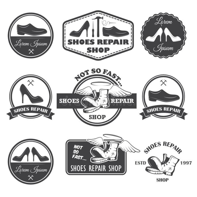 O grupo de vintage calça etiquetas do reparo, emblemas e o elemento projetado ilustração do vetor