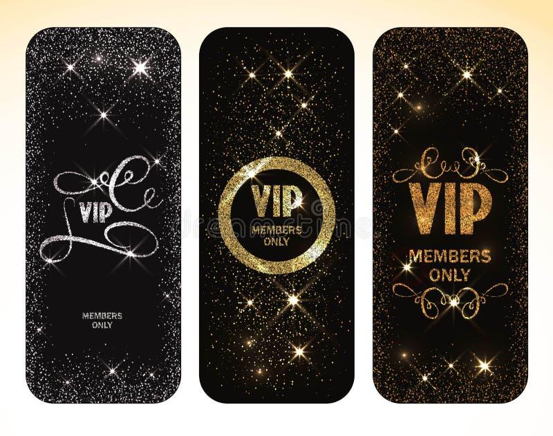 O grupo de vintage carda cartões do ouro e da prata com elementos do design floral ilustração royalty free