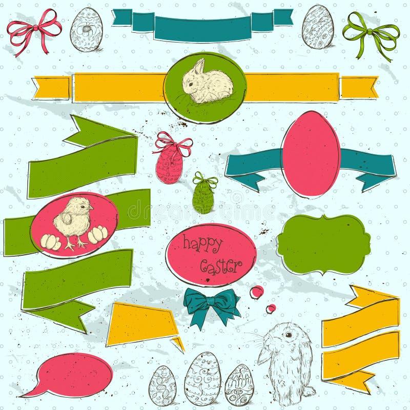 O grupo de vintage deign elementos sobre Easter. ilustração stock
