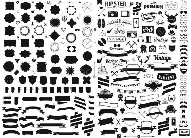 O grupo de vintage denominou sinais do vetor dos ícones do moderno do projeto e os moldes dos símbolos telefonam, dispositivos, ó